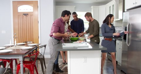 Group of friends gather for dinner in a kitchen, shot on R3D