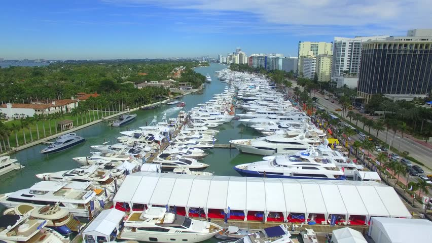 400b02e4a1d MIAMI BEACH - FEBRUARY 11  Aerial video of the 2016 annual Miami Beach  International Boat show and sale setup in the Intracoastal waters of Miami  Beach ...