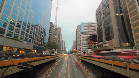 Time lapse of avenida Paulista avenue, Sao Paulo, Brazil. Rush hour