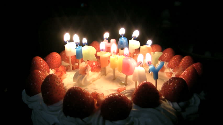 Happy Birthday Cake With Burning Spiral Candles Which Are Then