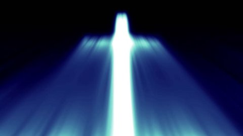 Light cross of Christ, ray beams background blue