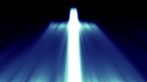 Light cross of Christ, ray beams background blue