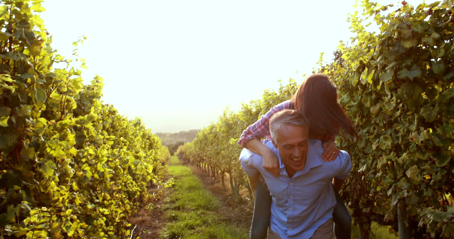 Happy man giving his girlfriend a piggyback in the vineyard #14931334