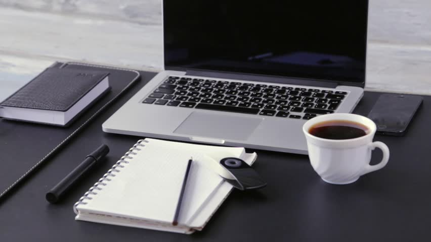 workspace work desktop black and white business stylish modern space wood background top view stock footage video