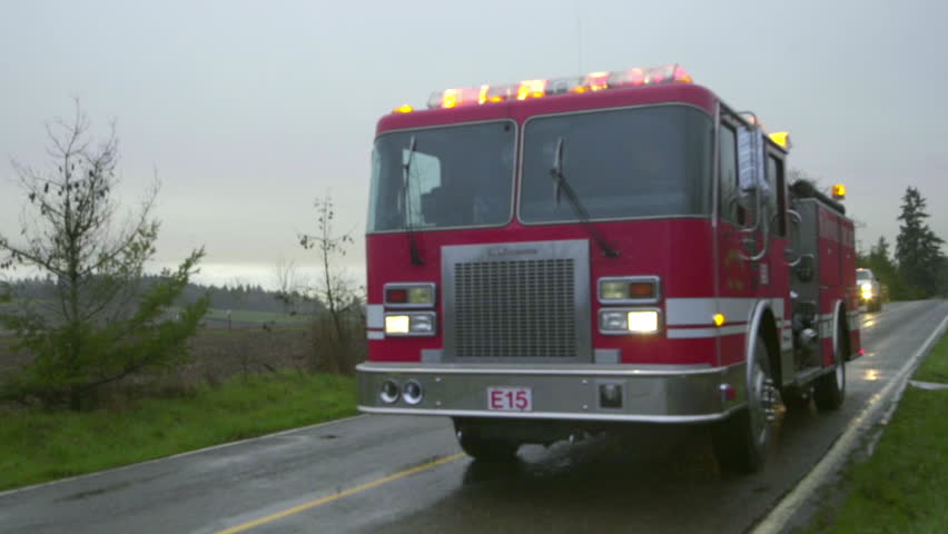 Fire truck with lights flashing
