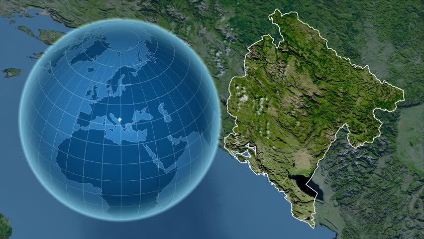 Kosovo Shape Animated On The Satellite Map Of The Globe Stock - Portugal globe map