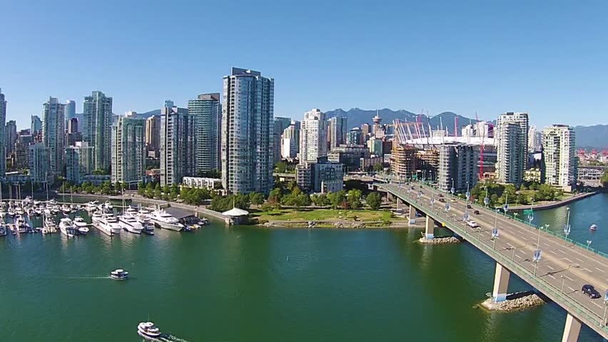 Aerial footage of the Vancouver skyline at False Creek, Vancouver Canada