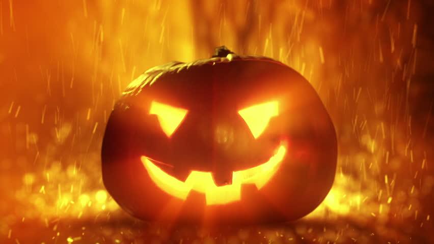 A Scary Halloween Pumpkin Lantern. Very Demonic Video Clip ...