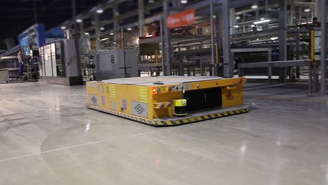 Manufacturing Plant, Ceramic tiles manufacturing, AGV transports products, Electrical Automated Guided Vehicles Platform, Automatic stacker,  modern plant, Industrial interior, warehouse interior,