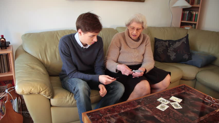 Stock Video Of Grandson And Grandmother, Playing Cards-9644