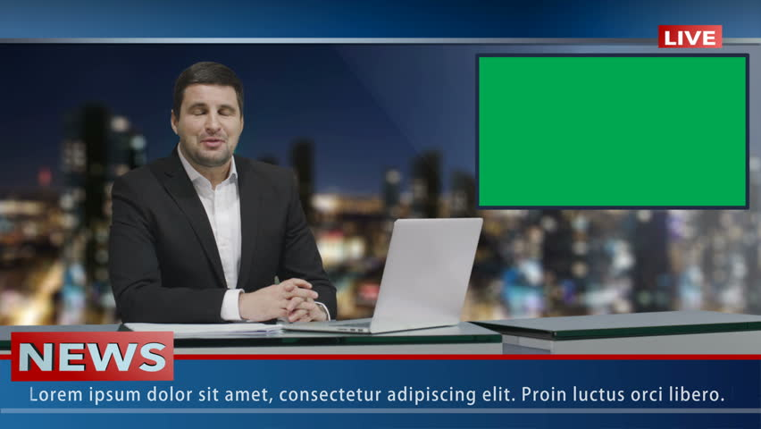 Media broadcaster is sitting at a table and talking. Display with Green Screen. News show Mock-up. | Shutterstock HD Video #15017359