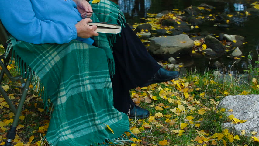 elderly woman sitting in a chair at autumn park reading book, Unrecognizable Person,  Side View