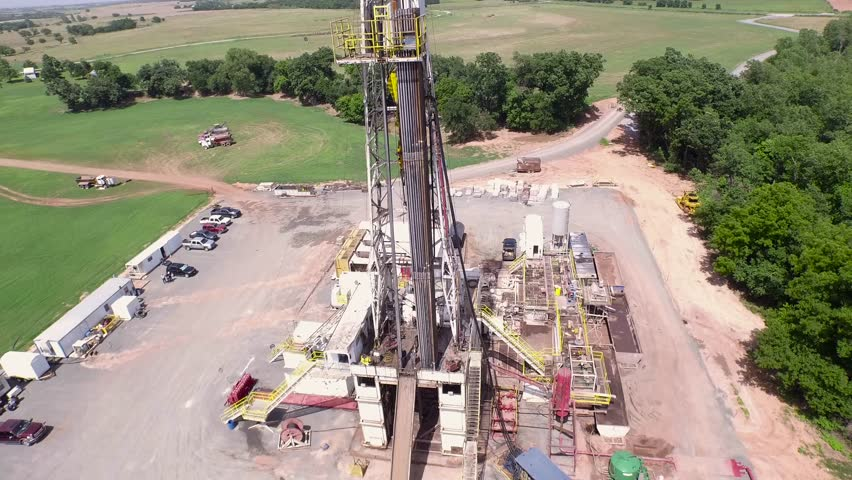 Aerial of Large Drilling Rig Close up