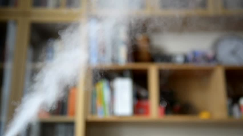 An Ultrasonic Humidifier Spreading Steam Into The Living Room