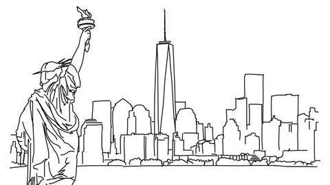 New York with Statue of Liberty Outline Animation Hand Drawn Sketch Build Up and Down
