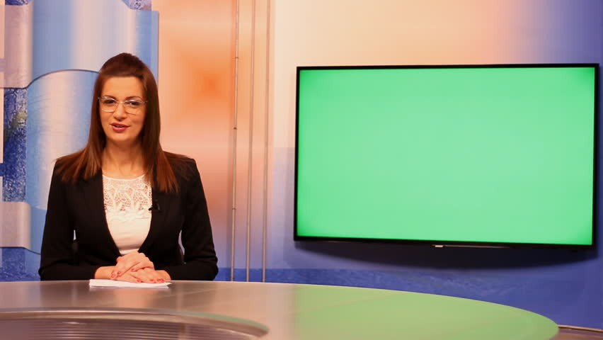 TV presenter happy mood ,Green Screen background