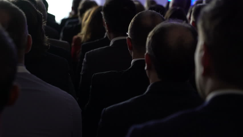 Speaker Teacher Doctor Lecture Conference or Congress. Man speaking to people attending audience spectators. Mwc  4K UHD Business Man