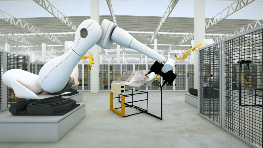 Industrial Robot arm active in factory. Automation welding mechanical procedure