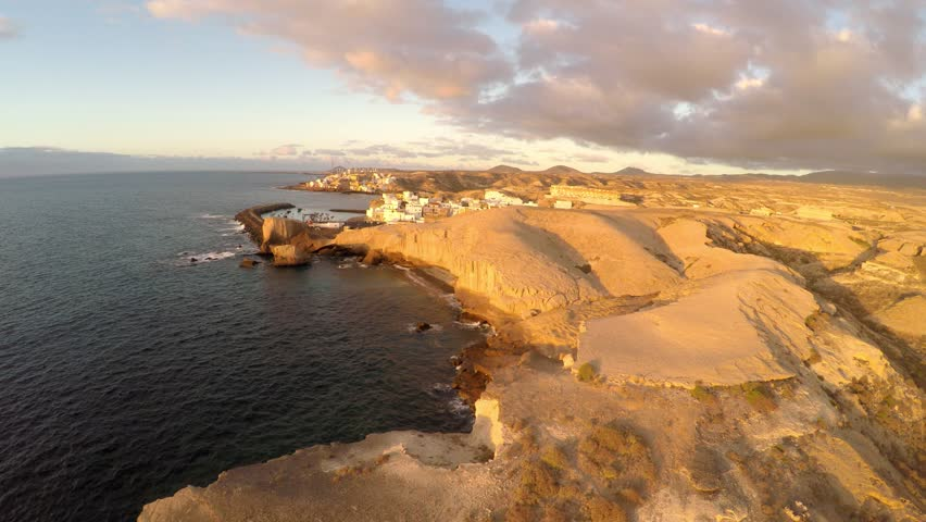 AERIAL: Tajao beach, South Tenerife, Canary islands, Spain - aerial view