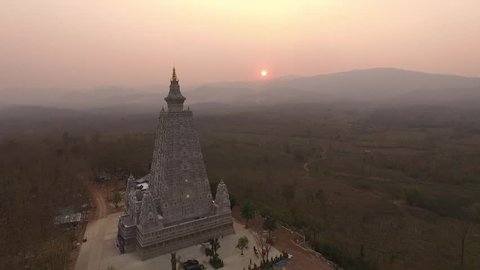 Aerial Shot from Drones, Bodh Gaya, Mahabodhi Temple Imitation from INDIA, Lampang District, THAILAND.