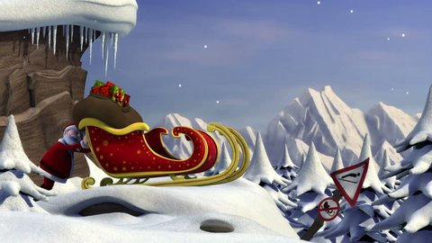 Santa's Take Off - Santa Claus tries to take off of a ski jump with his sleigh - version with room for your own copy text - high quality 3d animation