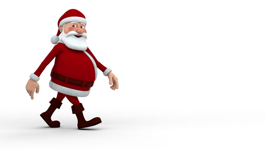 Cartoon Santa Claus walking across the screen and smiling into camera - high quality 3d animation