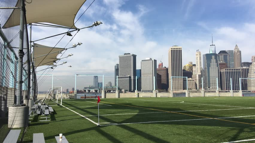 Downtown Manhattan From Brooklyn Bridge Park 4k Stock Video Clip