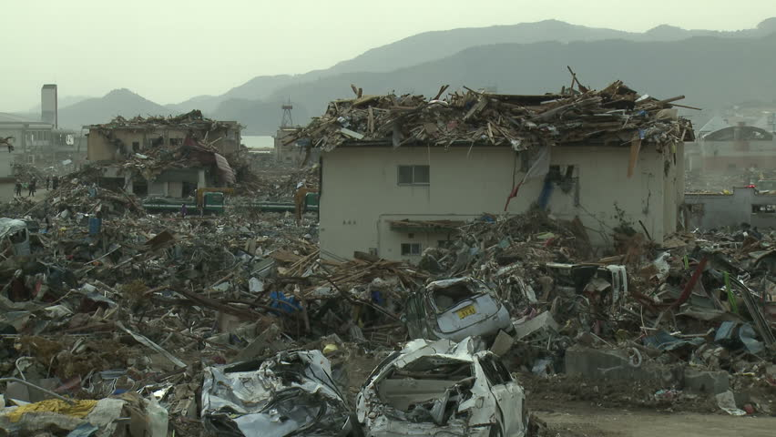 Japan Tsunami Aftermath - View Across Destruction In Rikuzentakata City - Full HD 1920x1080 30p.