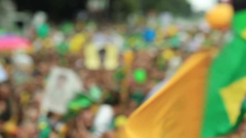 SAO PAULO, BRAZIL - MARCH 13, 2015: Large crowds of people protesting against Brazilian corruption and wanting the impeachment of president Dilma Rousseff and the removal of her political party PT. | Shutterstock HD Video #15220969