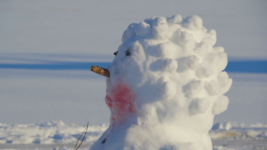 Closer look of the spiky haired snowman. The other snowman has a small pail on his head