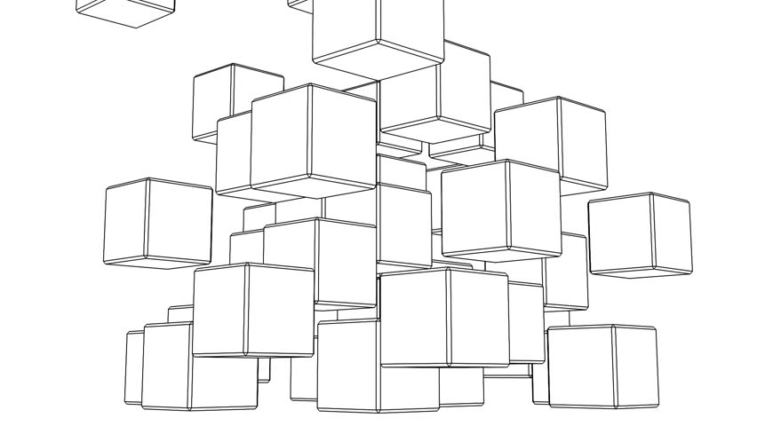 Stock video of black wire frame cube abstract on | 15229774 ...