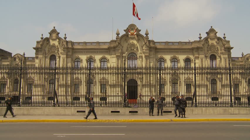 LIMA - NOV 16: Guards patrol outside the Government Palace on November 16, 2009 in Lima, Peru