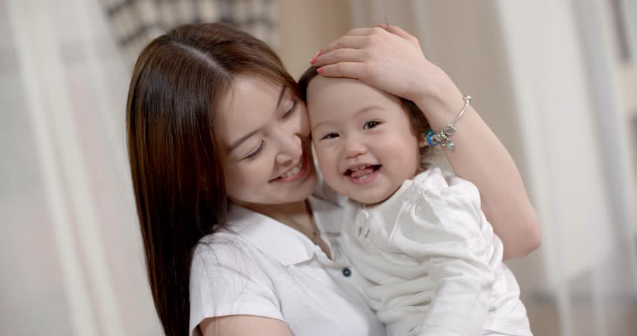 Young Asian Mother Plays With Stock Footage Video 100 -4566