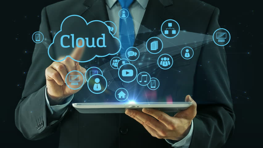 Business man pointing on cloud data social network media concept tablet pad computing businessman computer black   Shutterstock HD Video #15282244