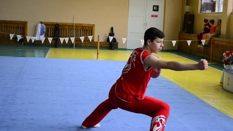 BERDYANSK, UKRAINE - MARCH 12: Open wushu championship of the Zaporizhia region on March 12, 2016