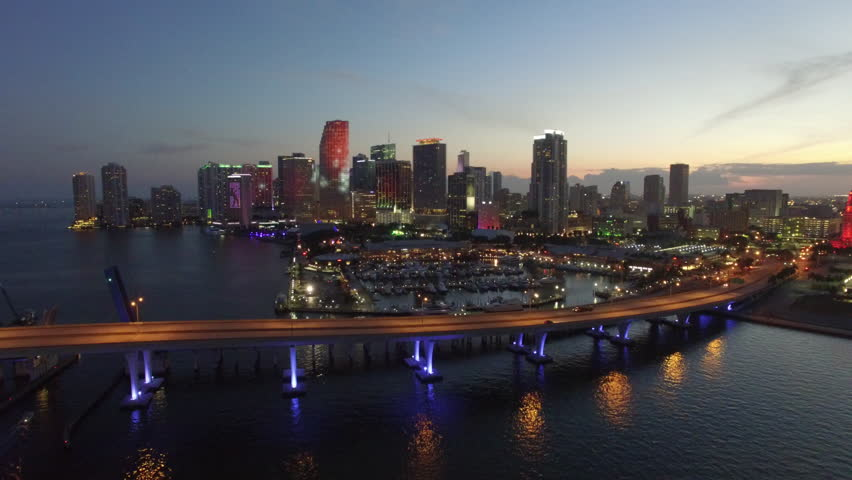 Aerial drone video of Downtown Miami at dusk 4k dji phantom