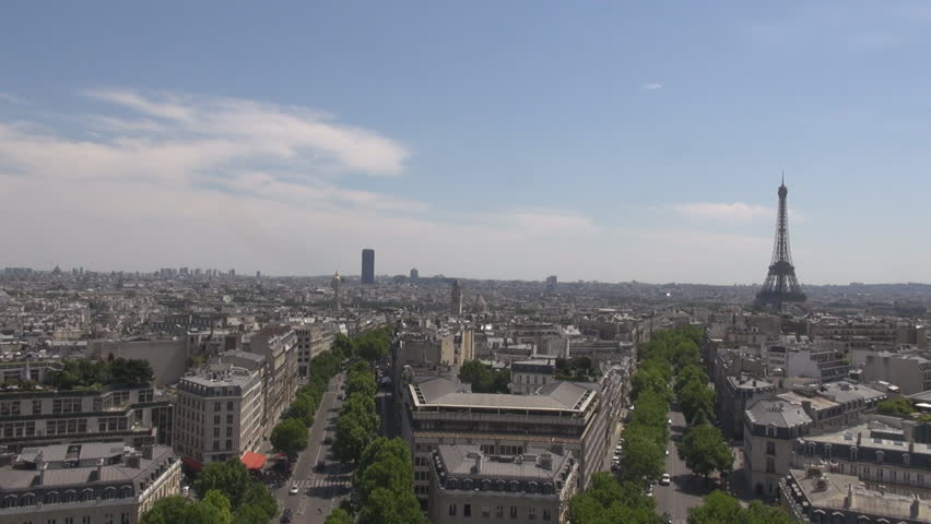 PARIS FRANCE - 1 August 2015 Urban cityscape in Paris, aerials shot, Eiffel Tower blue sky in summer, romance | Shutterstock HD Video #15318004