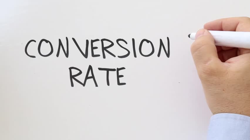 Shot of Conversion rate written on whiteboard