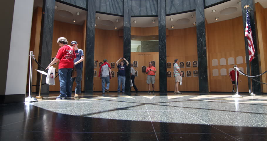 Tracking shot of museum goers at the National Baseball Hall of Fame and Museum / Cooperstown, NY - USA, May, 2015   Shutterstock HD Video #15345244