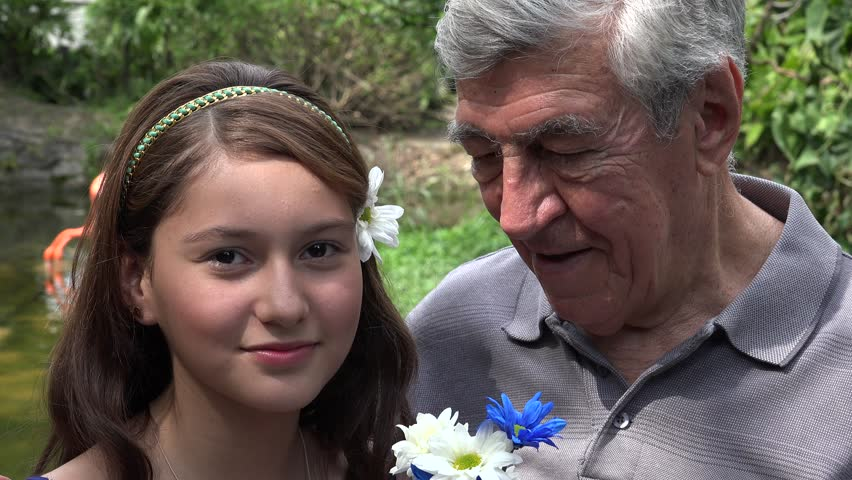 Teen Girl And Grandfather Smiling Stock Footage Video 100 -2979