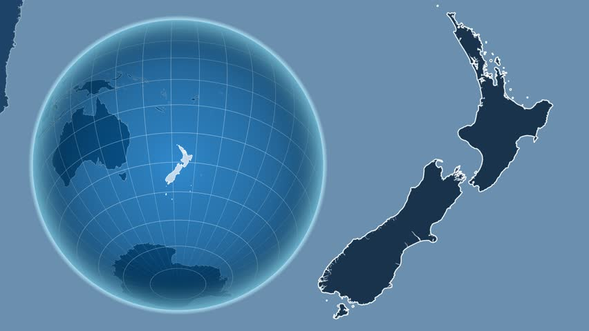 The new zealand area map in the azimuthal equidistant projection new zealand shape animated on the admin map of the globe 4k stock footage clip gumiabroncs Image collections