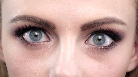 Girls blue eyes in wonder. Close up