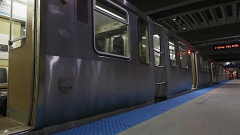 Train ready for departure in Chicago, Illinois, United States