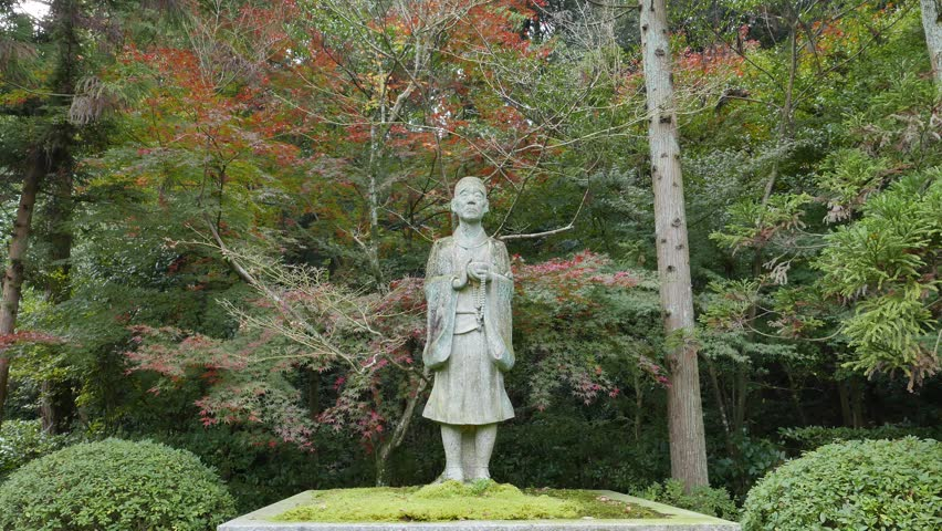 KYOTO, JAPAN -NOV 23, 2015: Bronze statue of The Ikkyu in Shuon-an Temple, Kyotanabe, Kyoto, Japan. Ikkyu-san is one of the most significant (and eccentric) figures in Zen history. #15425944