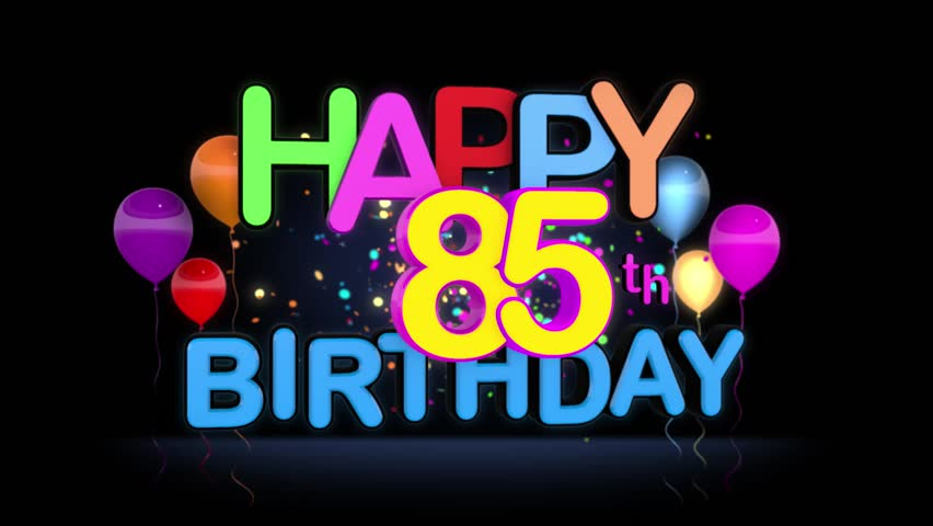 Happy 85th Birthday Title Seamless Looping Animation For Presentation With Dark Background