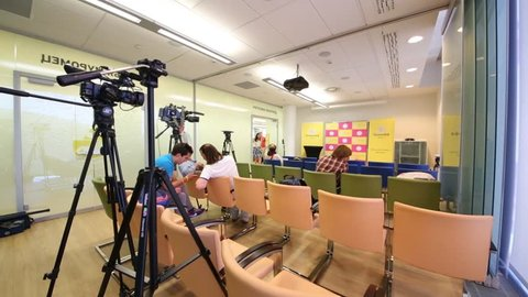 MOSCOW - JUN 03, 2015: Conference hall in Tinkoff Bank office. Tinkoff Bank - only full online bank in Russia