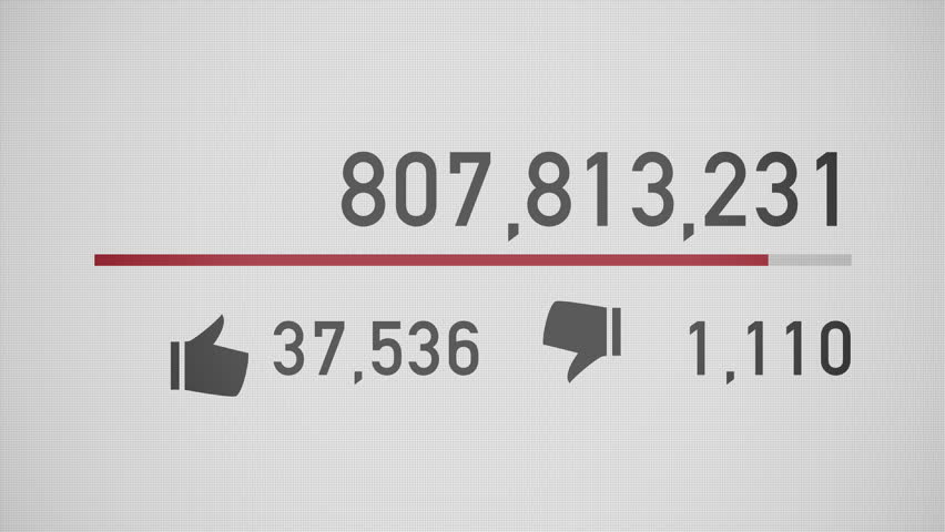 A close up of a video counter quickly increasing to 1 billion views. Flat version.
