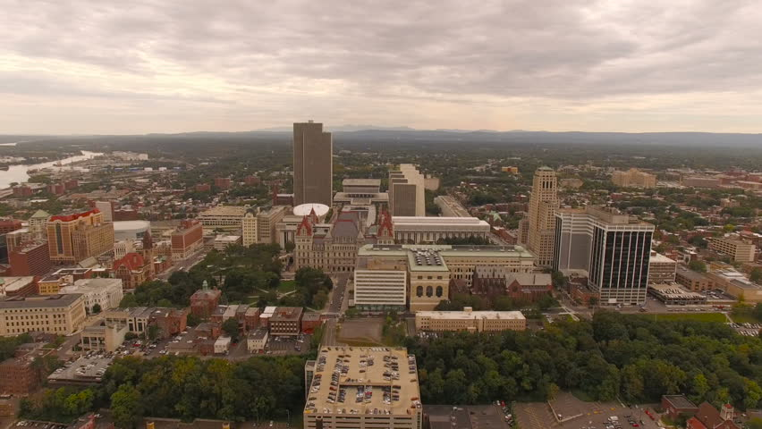 Albany Aerial v8 Flying over downtown State Capital buildings.