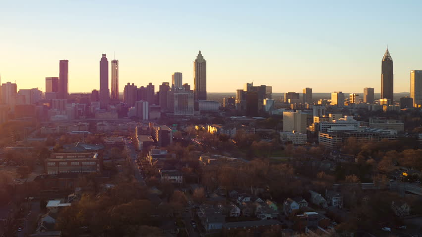 Atlanta Aerial v173 Flying low over Old Forth Ward area panning with cityscape sunset views.