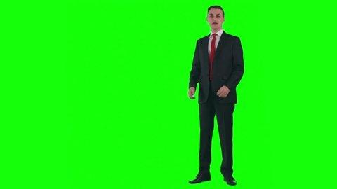 Chroma key video of weatherman presenting weather forecast on TV
